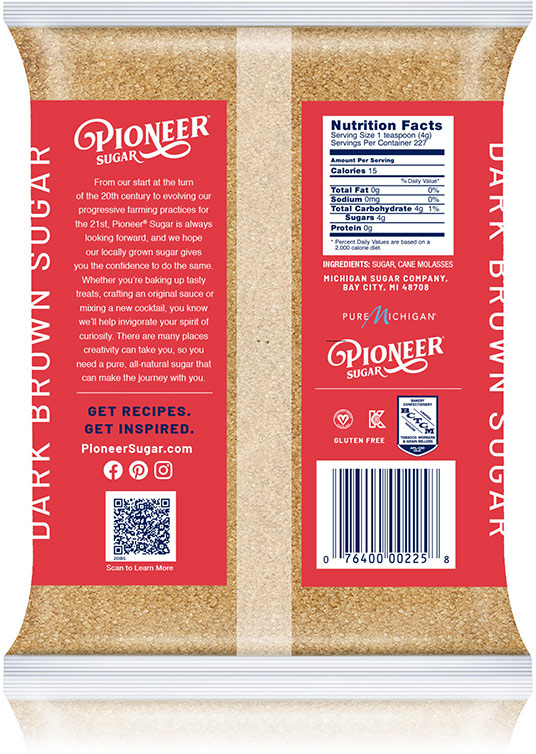 Pioneer Brown Sugar Packaging - Back Label